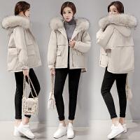 女装冬装新款韩版白鸭绒工装女超大毛领羽绒服女中长款女短款女小个子小款外套女保暖宽松 米色