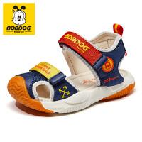 巴布豆童鞋2021夏季新款男童凉鞋软底包头小童宝宝女童儿童鞋子潮-深蓝红
