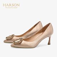 【 限时4折】哈森2019春季新款时尚水钻饰扣单鞋女 细跟宴会婚鞋高跟鞋HS97108