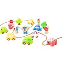 [当当自营]木玩世家 比好系列 交通串珠 木制交通工具常识认知 儿童益智玩具