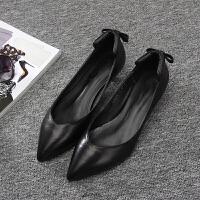 欧美春夏新款细跟女鞋尖头蝴蝶结小跟瓢鞋中跟单鞋女船鞋