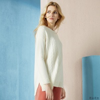 纯羊绒衫女装圆领宽松加厚绞花套头中长款毛针织衫 100/M