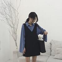 初秋季冷系女装法式名媛小香风吊带连衣裙两件套装早秋背心裙子潮 吊带裙+衬衫两件套