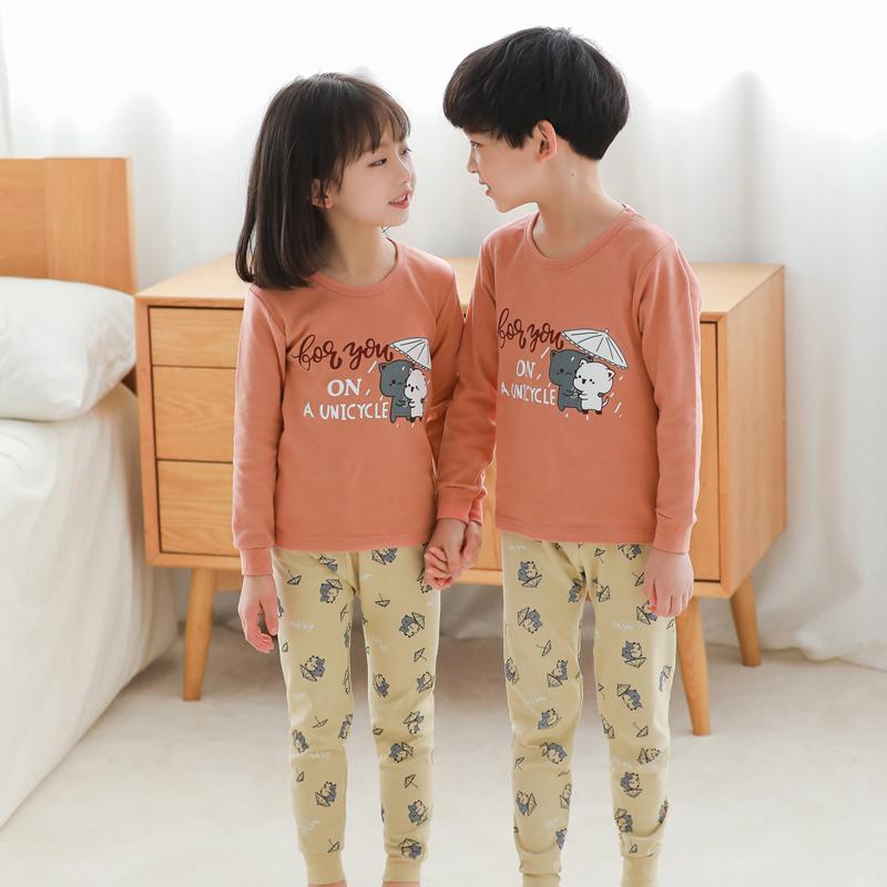女童秋衣秋裤套装男童保暖内衣套装儿童睡衣秋季球衣秋裤