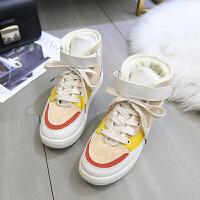 高帮运动鞋女2018秋新款韩版平底百搭嘻哈街舞板鞋ins超火的鞋子 米白色 加绒