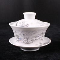 汉馨堂 茶杯 景德镇白色釉大盖碗茶碗陶瓷功夫茶具三才碗杯敬茶碗泡茶壶茶杯