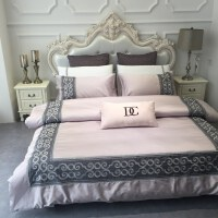 床上四件套纯棉1.5m 1.8m 床上用品简约60支长绒棉刺绣全棉床单 2.0m床 被套220x240cm