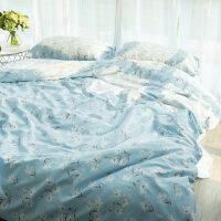 送抱枕! 纯棉四件套全棉床单被套格子棉麻可水洗床笠1.8米1.5m