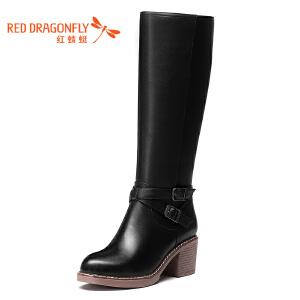红蜻蜓女鞋秋冬皮鞋鞋子女女靴子长靴WNC6610