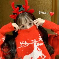 女装秋冬韩版宽松卡通圣诞老人小鹿加厚网红套头毛衣针织衫女上衣外套女女保暖宽松毛衣女 均码