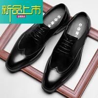 新品上市新款尖头男士皮鞋固异英伦真皮男鞋子商务正装手工婚鞋潮