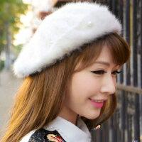 小香风钉珠珍珠兔毛蓓蕾帽 贝雷画家帽 女士时尚保暖帽子