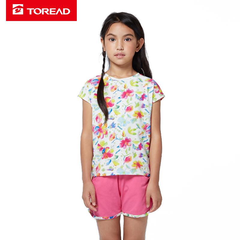 【到手价:70元】探路者儿童 春夏女童风格系列满印圆领短袖T恤/短裤套装TDWK35206-D