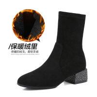 2019冬季新款韩版百搭靴子女网红短靴粗跟瘦瘦靴方头中筒袜靴