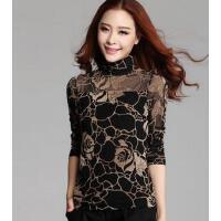 新款修身显瘦长袖t恤潮个性时尚休闲高领加绒网纱打底衫韩版大码女装