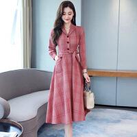 安妮纯2020春装新款女装收腰显瘦气质格子长袖衬衫连衣裙初秋流行裙子