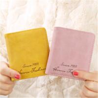 茉蒂菲莉 女士钱包 搭扣短款韩版新款磨砂皮简约学生复古学生钱夹