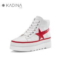 卡迪娜牛皮革五角星松糕底小白鞋运动休闲鞋板鞋 KLC83203