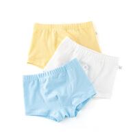 童装男童内裤夏季纯棉平角裤小孩宝宝四角裤纯色中小童3条袋装
