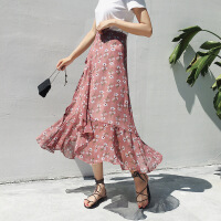 2019新款流行不规则很仙的法国小众半身裙女春碎花长裙沙滩裙子夏 均码80-135能穿