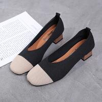 2019春新款韩版时尚气质学生针织单鞋女粗跟浅口复古方头奶奶鞋