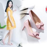 2017秋季浅口可爱蝴蝶结百搭粉色优雅中跟7cm高跟鞋细跟单鞋皮鞋