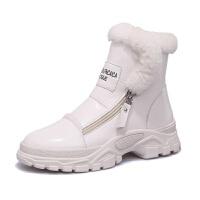 雪地靴女2018新款马丁靴英伦风chic韩版加绒厚底漆皮短靴厚绒棉鞋