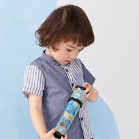 【秒杀价:99元】马拉丁童装男小童短袖2020春夏新款趣味图案面料拼接条纹衬衫