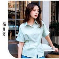 宽松衬衫女可爱小清新2019棉立方夏季新款修身时尚心机上衣设计感