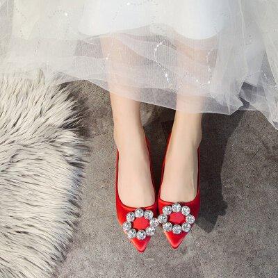 小根高跟鞋女低跟3公分绸缎面红色婚鞋浅口细跟单鞋时尚孕妇鞋ol