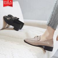 【活动中】小红人黑色粗跟单鞋女2019春季新款方头乐福鞋一脚蹬两穿懒人鞋子 PU