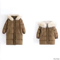 原创亲子装女童羽绒服母女真毛领中长款宝宝加厚儿童韩版外套