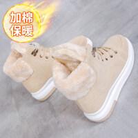 冬季加绒加厚短筒东北雪地靴女韩版百搭学生高帮加棉滑大棉鞋女