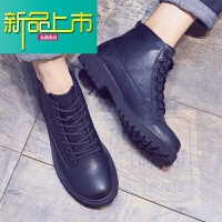 新品上市冬季马丁靴男真皮中帮厚底圆头高帮鞋男英伦潮流加绒皮鞋靴子