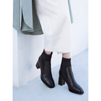 哈森2019冬季新款羊反绒粗高跟方头短靴女 百搭弹力靴袜靴HA97119