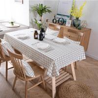 黑白格子桌布布艺棉麻小清新茶几餐桌现代简约方格长方形