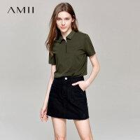 【预估价94元】Amii极简学院风减龄polo翻领短袖T恤女2019夏季绿色弹力短袖上衣