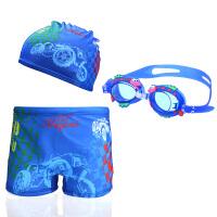 男童泳裤+泳帽套装卡通儿童游泳裤帽大童中小孩平角裤宝宝学游泳