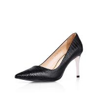 卡迪娜 欧美细跟浅口简约羊皮革女性单鞋高跟鞋 KS62502