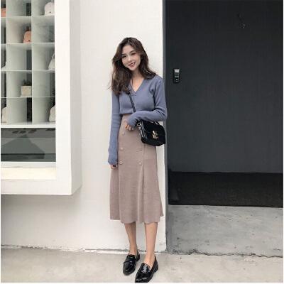 心机女时尚套装女秋冬季气质女神范赫本小香风毛衣搭配裙子两件套   商城品质 优质版型 放心购买