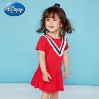 【2件3折价:60.9】迪士尼女童裙子针织圆领短袖连衣裙正品童装2020夏季新品
