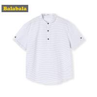 巴拉巴拉男童短袖衬衫中大童夏装新款童装儿童衬衣纯棉条纹衫