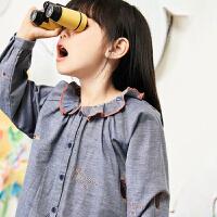 【5折券预估价:166.05元】马拉丁童装女童衬衫春装2020年新款可爱木耳领长袖娃娃衫上衣