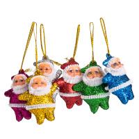 圣诞老人节庆圣诞树装饰品圣诞树小挂件圣诞6个植绒金粉老人