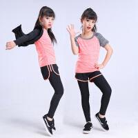 女童舞蹈运动健身夏短袖形体速干衣少儿童练功羽毛球服套装