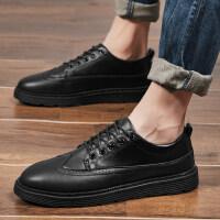 英伦韩版学生休闲板鞋全黑色工作潮鞋冬季新款男士全黑色休闲皮鞋