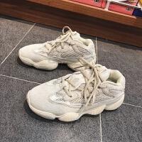 女鞋2019秋季新款韩版跑步鞋ins超火的复古老爹鞋浅口透气网布鞋 浅灰色