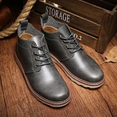 马丁靴男士短靴中帮男靴子冬季保暖加绒雪地棉靴高帮男鞋棉鞋皮   冬季时尚新款女鞋 男鞋