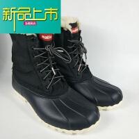 新品上市 mm男女秋冬款户外超轻防水保暖加绒马丁靴雪地靴 多色 黑色 004