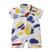 婴儿连体衣夏装0-6-12个月宝宝衬衫哈衣新生儿外出服婴儿短袖衣服